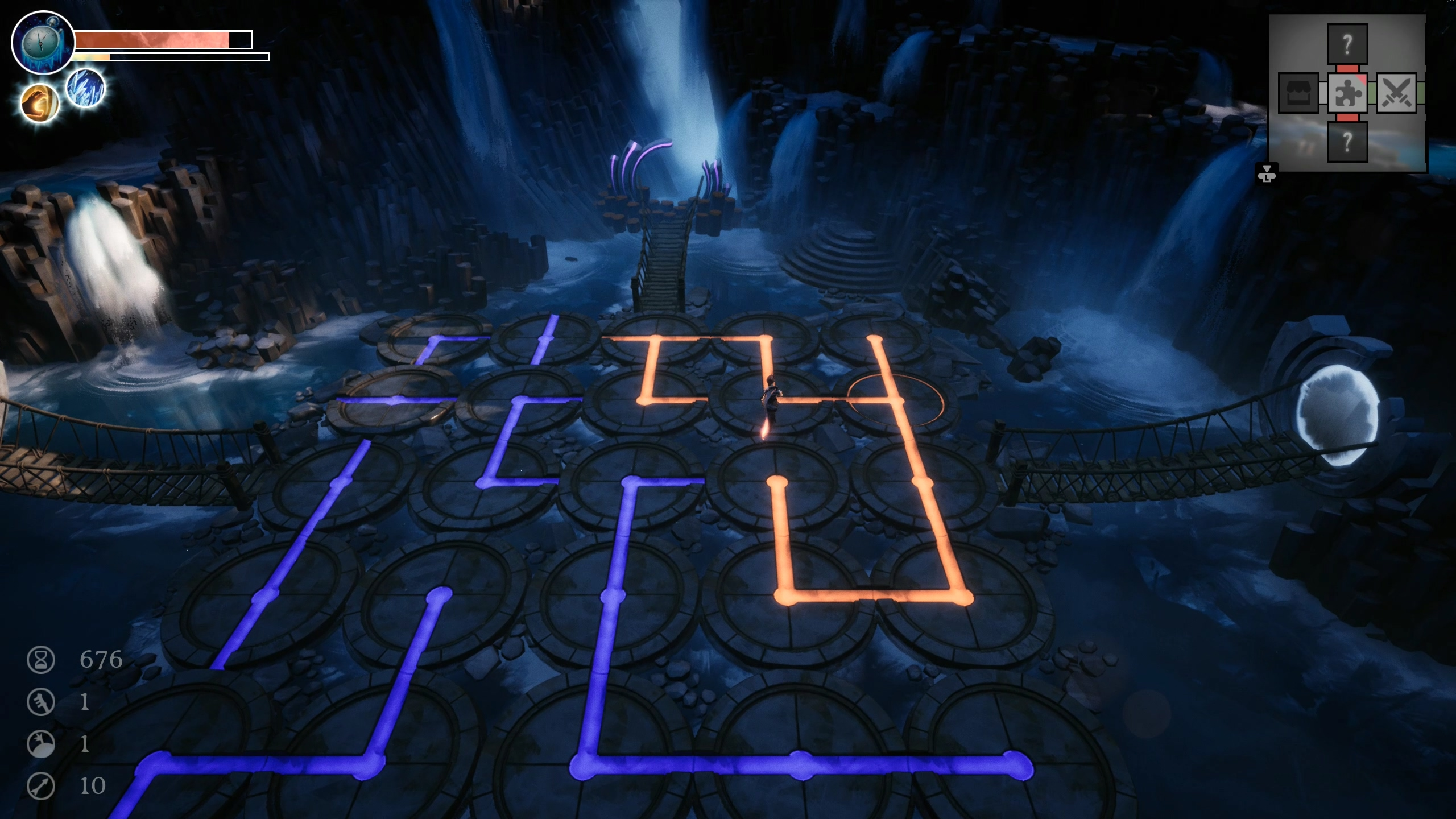 A screenshot of a floor puzzle in Dreamscaper. The scene is of a cave with rotating circles on the floor. Each has a coloured line or angle on top. The player must evidently rotate the circles into the correct positions such that they form one unbroken line from one side of the room to the other.
