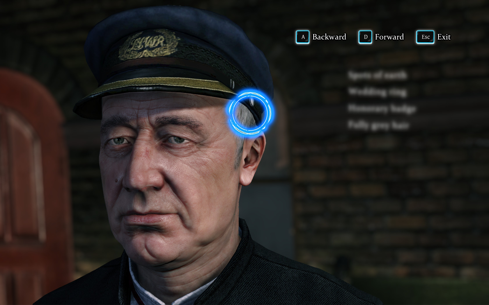 The screen shows the face of a late middle aged man in a uniform cap. The cursor is ready to focus over different parts of his face, with potential clues yet to be discovered obscured on a list on the right side of the screen.