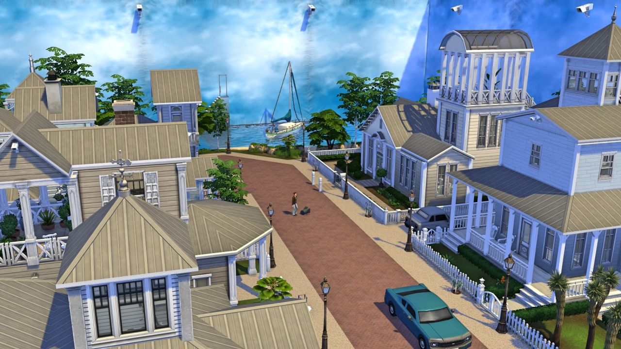 A screenshot of Simoniona's second Sims 4 version of Seahaven from The Truman Show. It's the same street as before, but this time the whole lot is surrounded by movie set panelling to create a fake sky, and cameras are visible everywhere.