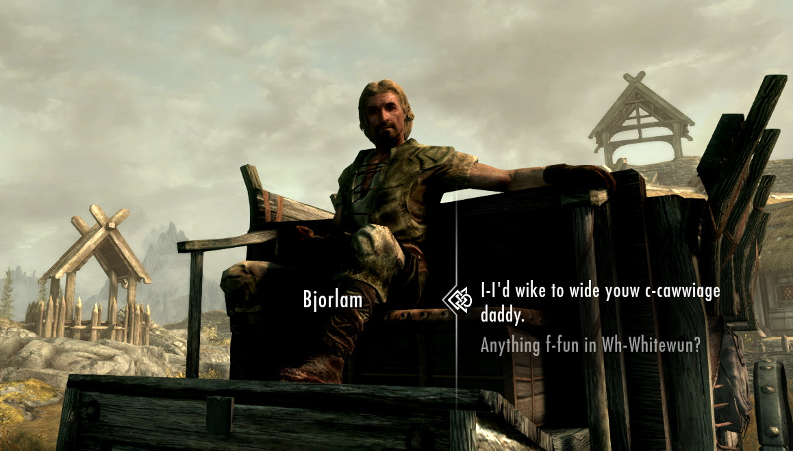 """A view of the carriage driver outside Whiterun. Dialogue options are: """"""""I-I'd wike to wide youw c-cawwiage daddy"""" and """"Anything f-fun in Wh-Whitewun?"""""""