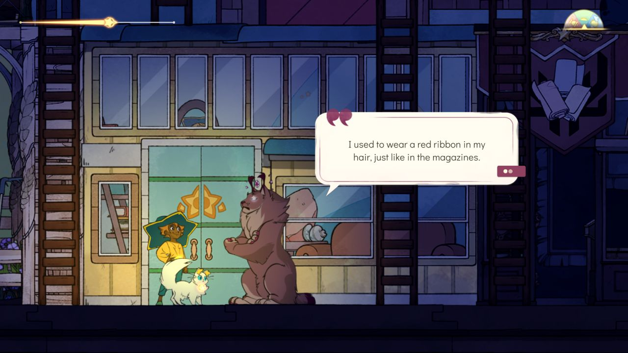 A screenshot of the player character Stella in Spiritfarer, talking to the lynx spirit Astrid. Astrid is saying 'I used to wear a red ribbon in my hair, just like in the magazines.'