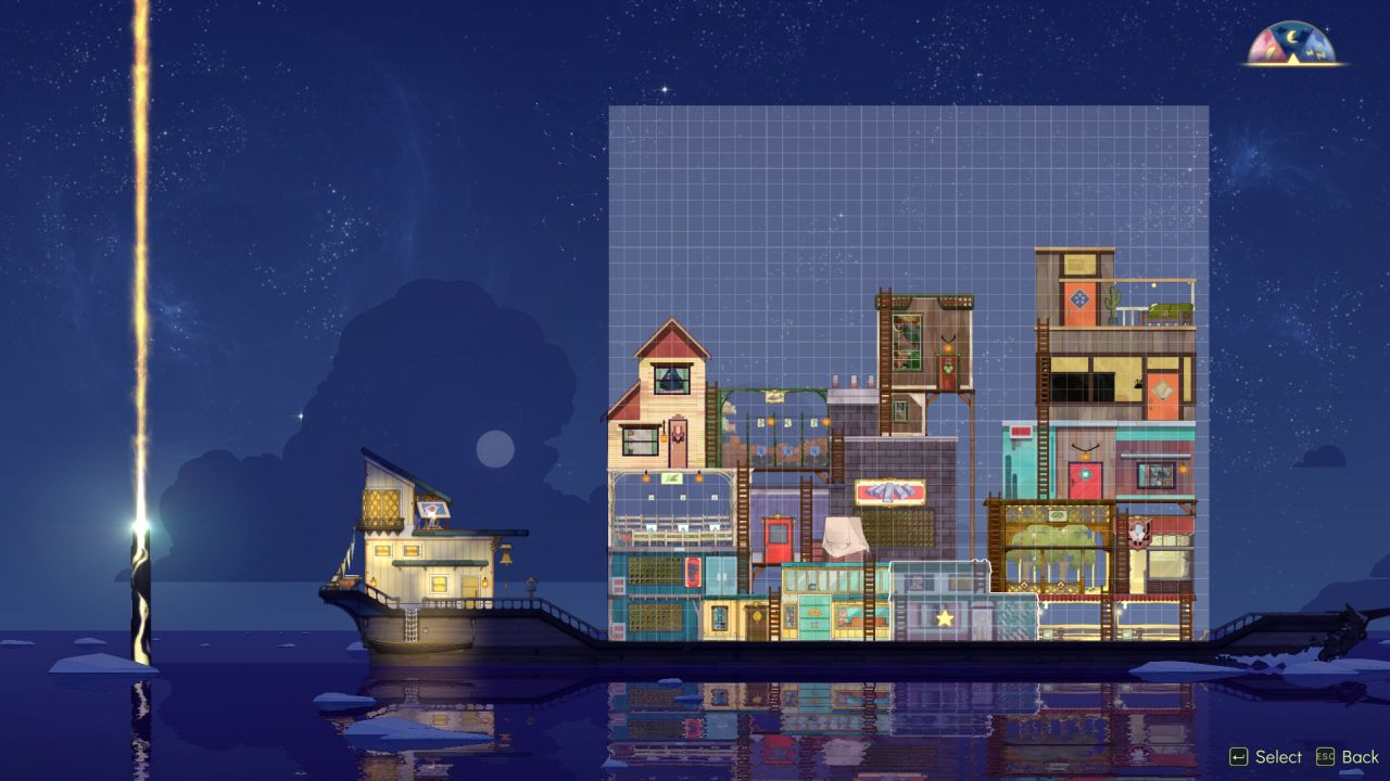 A screenshot showing the boat in Spiritfarer in 'edit' mode. It is zoomed out so the full stack of buildings on board can be seen, a patchwork of wobbly wooden struts and ladders, and different buildings with wildly different styles.