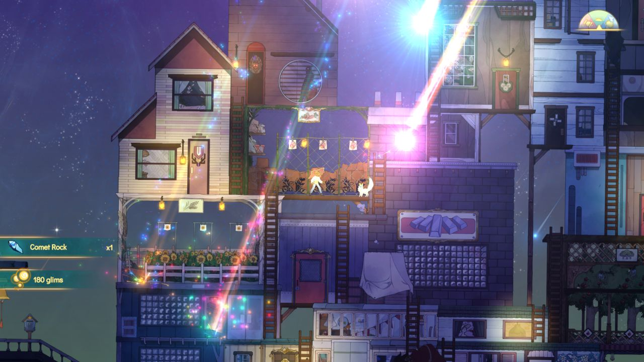 A screenshot from Spiritfarer showing bright, rainbow coloured meteors shooting down onto the deck.
