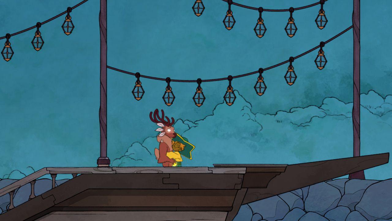 A screenshot showing the Spiritfarer player character Stella hugging Gwen, an elegant deer spirit.