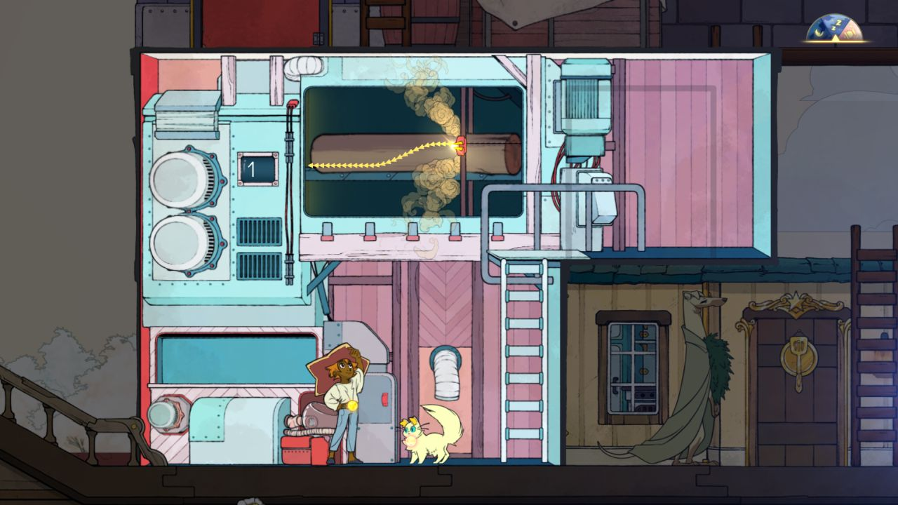 A screenshot showing the sawmill in Spiritfarer, a two level building with a saw that can cut a log. The saw must be directed by the player.