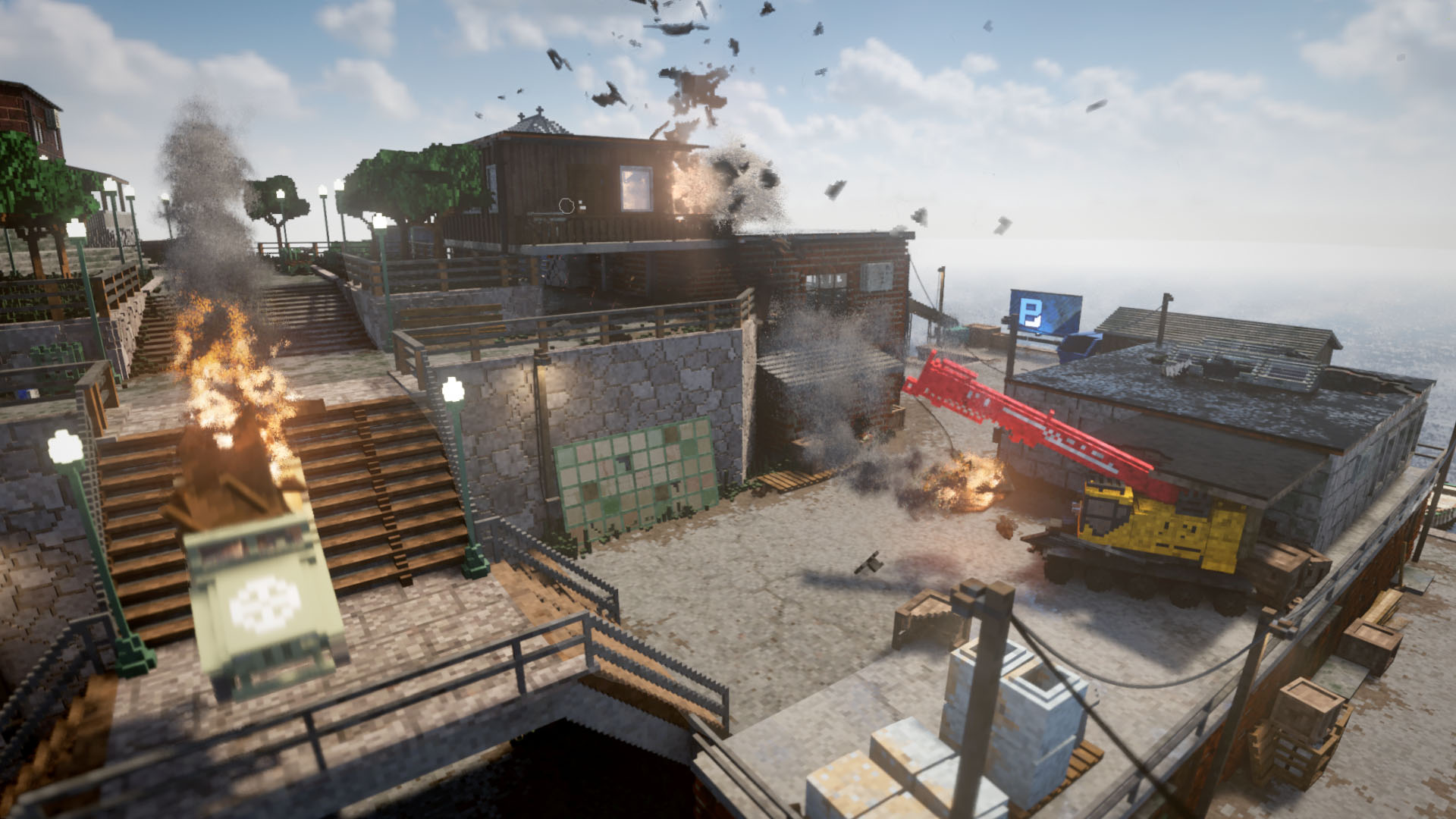A screenshot of Teardown showing several buildings and vehicles exploding in sequence at dockyard.