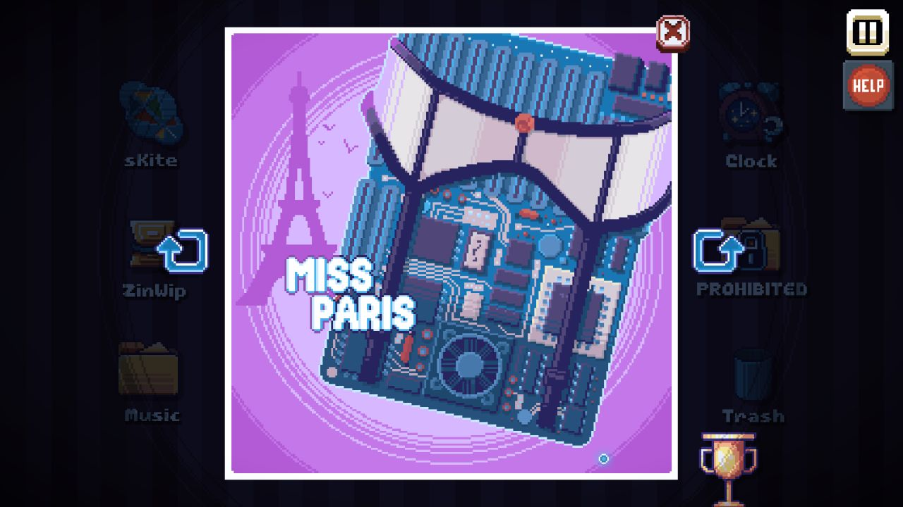 A screenshot from There Is No Game showing a piece of pixelart of pin up poster, but it's a motherboard wearing a sexy suspender belt. It's labelled 'Miss Paris' and has an Eiffel Tower in the background to confirm this.