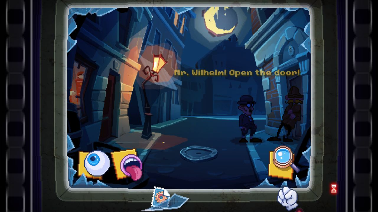 A screenshot of a CRT computer monitor with a broken screen. The monitor itself is displaying a point and click adventure rendered in a 90s LucasArts style, where the characters of Holmes and Watson are standing on a moonlit street attempting to enter a house. There are icons for a magnifying glass, eyeball and open mouth on screen. Outside of the screen, there is a broken shard of glass, a stamp with a cog logo on it, and a fist. This last is evidently part of the set of icons on screen, but it has been misappropriated by the player.