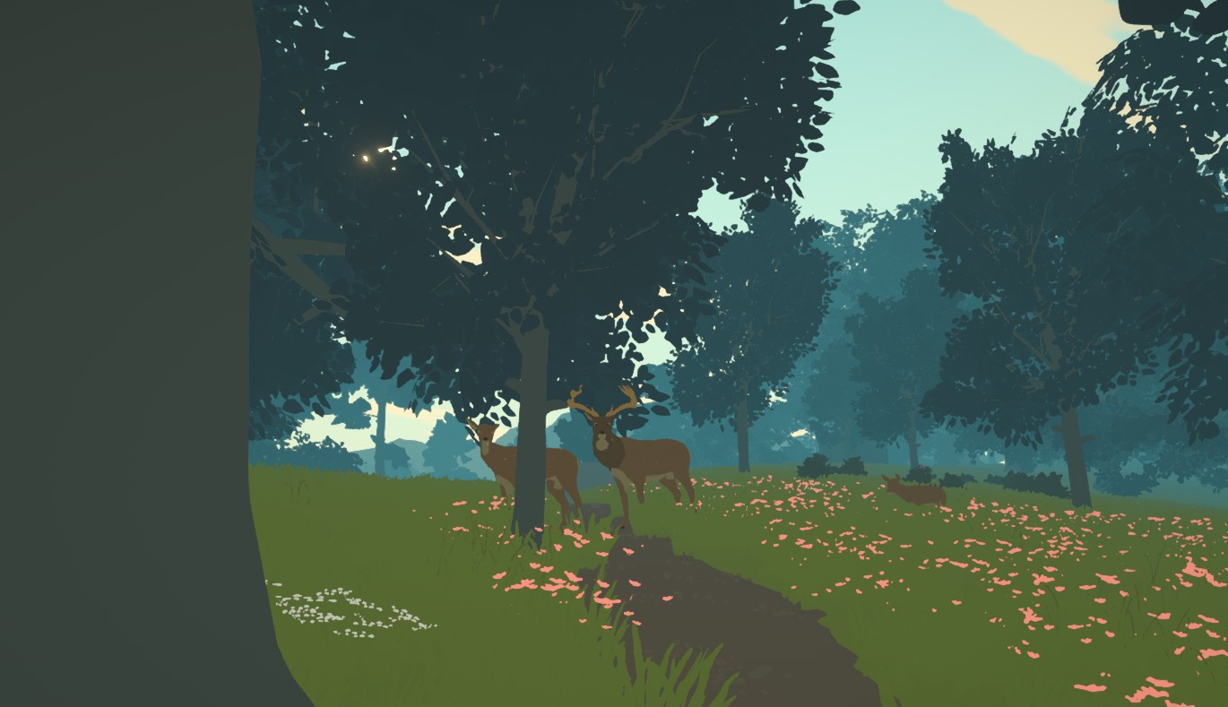 A deer and stag regard the player cautiously in a forest.