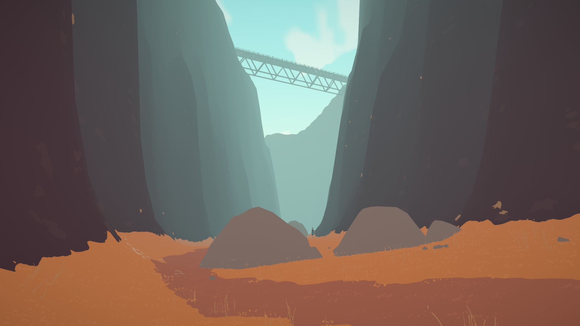 A ground-level view of a very tall canyon. A path winds through the middle, and a bridge overhead. Two large boulders in the middle distance, between which walks an unknown human figure.