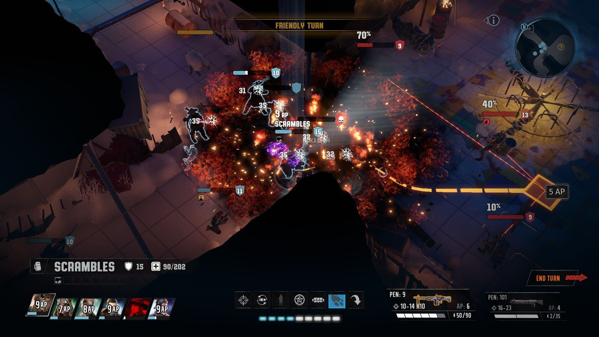 A screenshot of a combat round in Wasteland 3 in a dilapidated building. There is a grid on the floor showing where the currently selected character can move, and red lines from all the enemy NPCs indicating their percentage chance to hit if the selected character moved to a certain position.