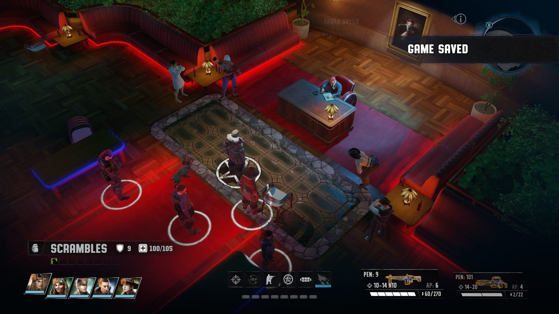 A screenshot from Wasteland 3 showing the players squad standing in what looks like a swanky restaurant or bar. It is red lit and there is a man sitting behind an imposing desk in the middle of the room.