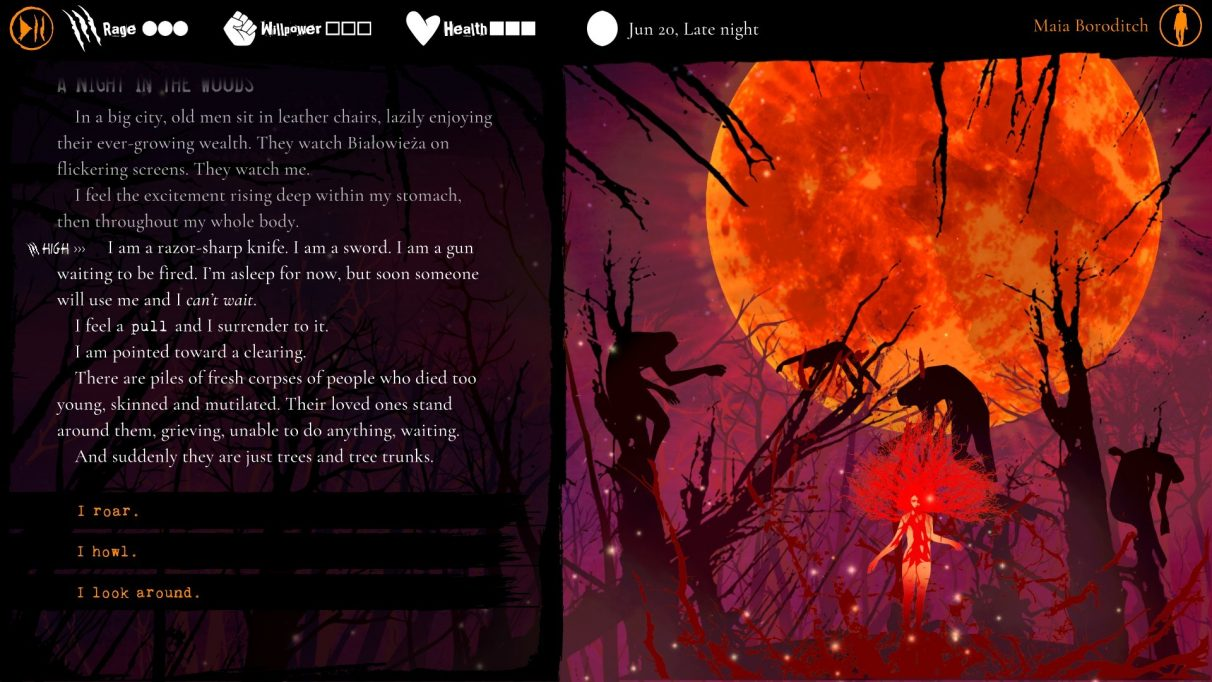 A screenshot from Werewolf: The Apocalypse - Heart Of The Forest showing, on the right side, a large blood moon rising behind the silhouettes of trees that seem to have impaled bodies on them. Beneath the moon is the figure of a woman, whose hair has grown to resemble the branches of a tree. On the left side of the screenshot, text descrbies a dream from protagonist Maia's point of view, in which piles of mutilated corpses become trees and treetrunks.