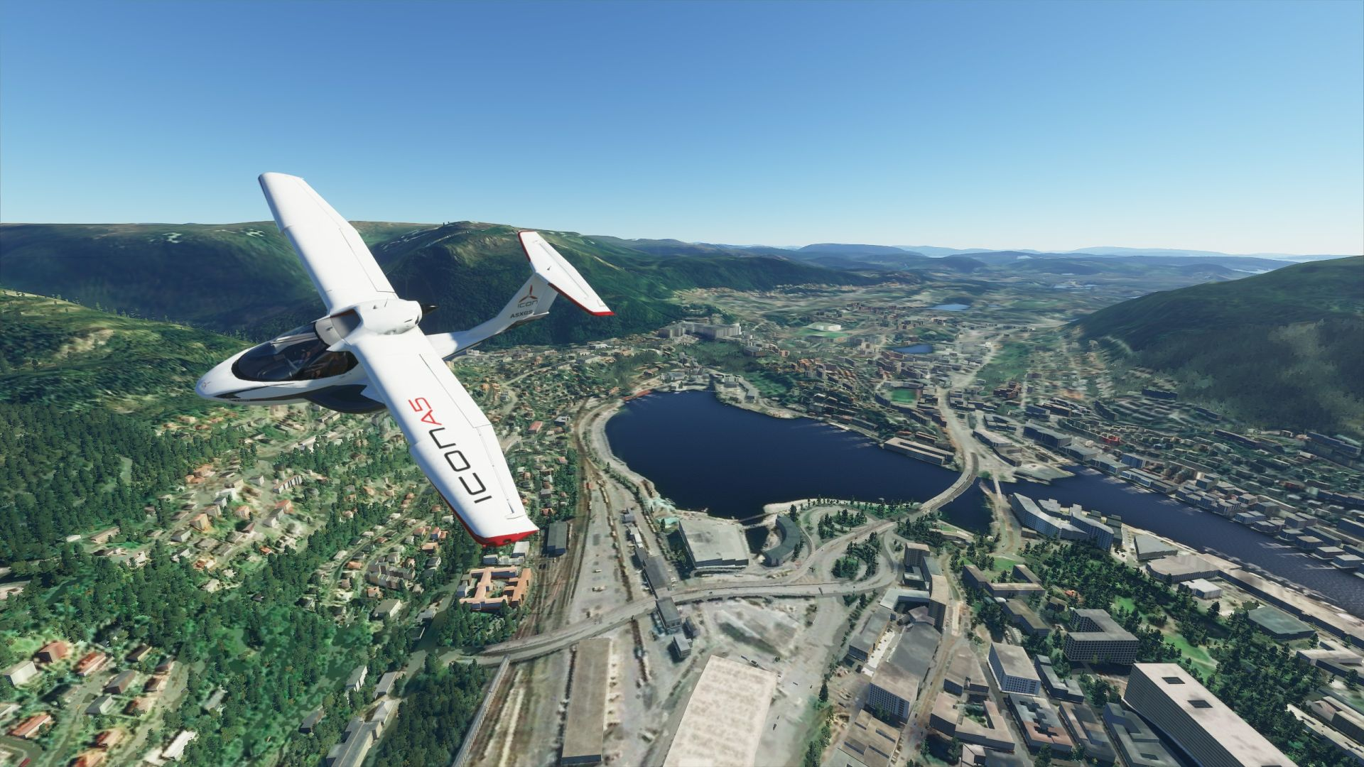 A Microsoft Flight Simulator screenshot. A plane flies over Bergen in Norway. Below is a small city with a lot of lakes and rivers