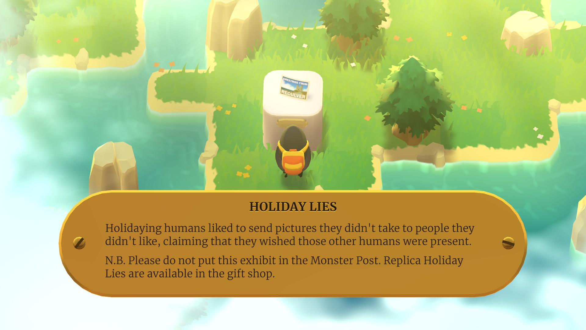 A screenshot from A Monster's Expedition showing the monster in question observing the exhibit of a postcard - 'holiday lies'.
