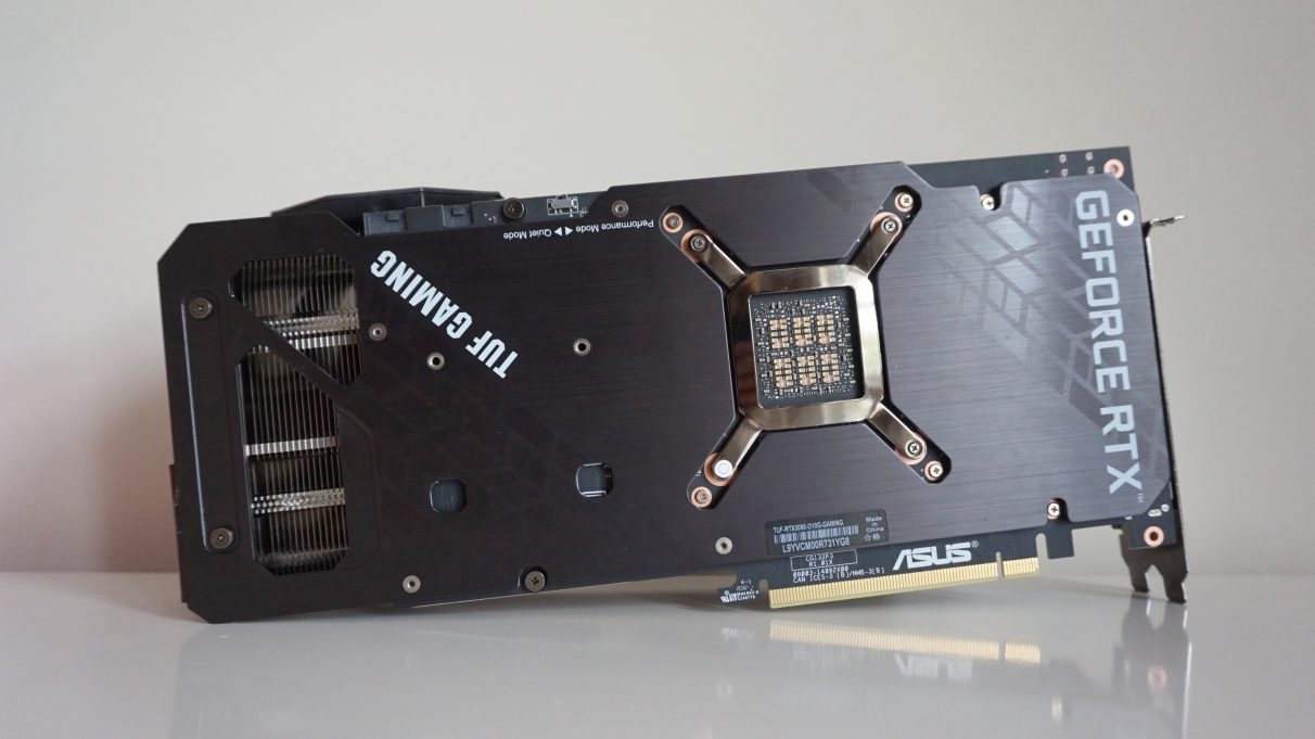 A photo showing the rear of the Asus TUF Gaming GeForce RTX 3080 OC edition.