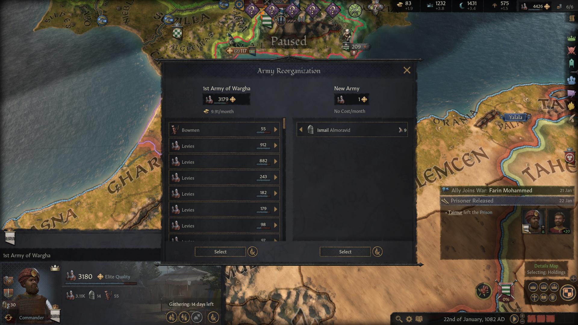Reorganising your army in Crusader Kings 3