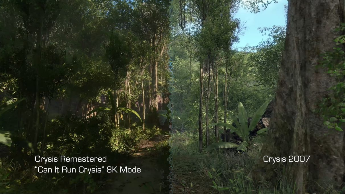 A screenshot comparing the maximum settings of Crysis Remastered with the original Crysis from 2007.