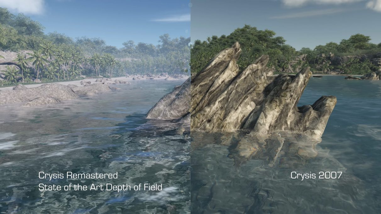 A screenshot comparing Crysis Remastered's new depth of field effects with the original Crysis from 2007.