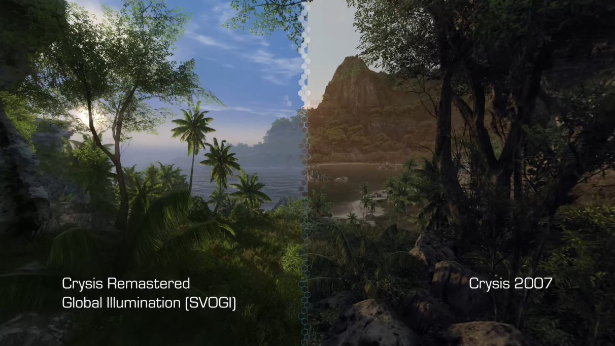 A screenshot comparing Crysis Remastered's new global illumination system with the original Crysis from 2007.