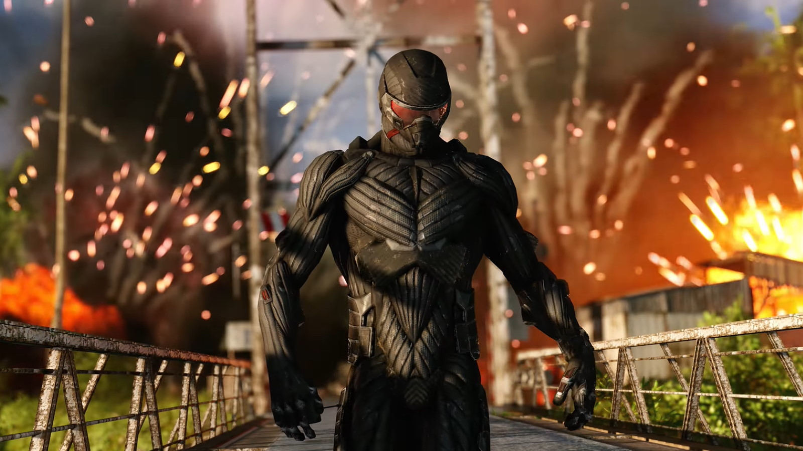 A screenshot showing Crysis Remastered's iconic nanosuit.
