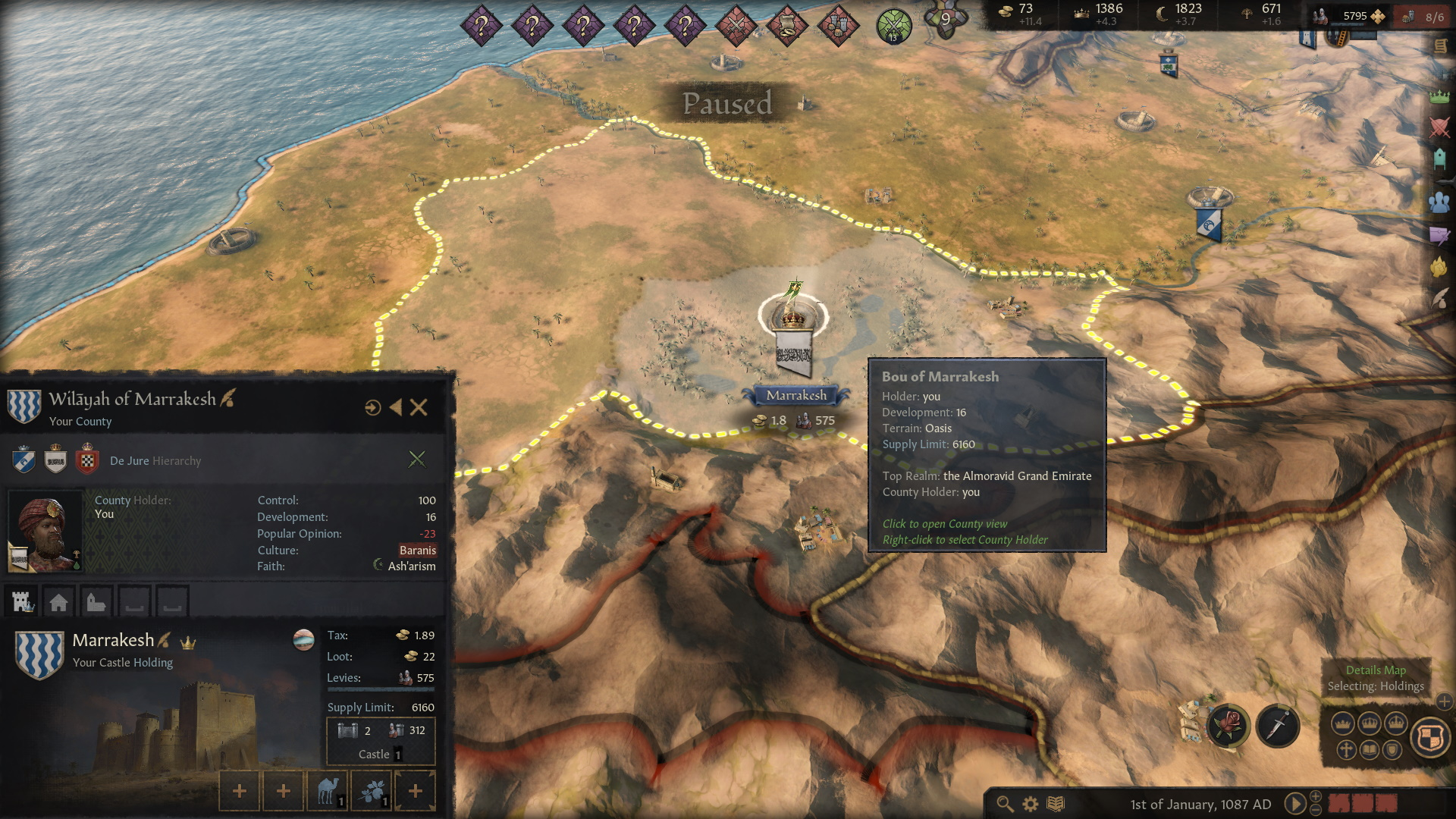 Crusader Kings 3 county control and development header