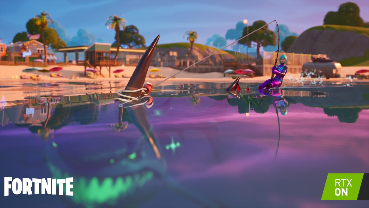 A screenshot showing ray traced reflections in Fortnite.
