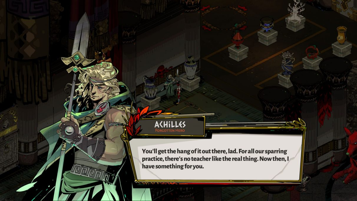 Chatting with Achilles in a Hades screenshot.