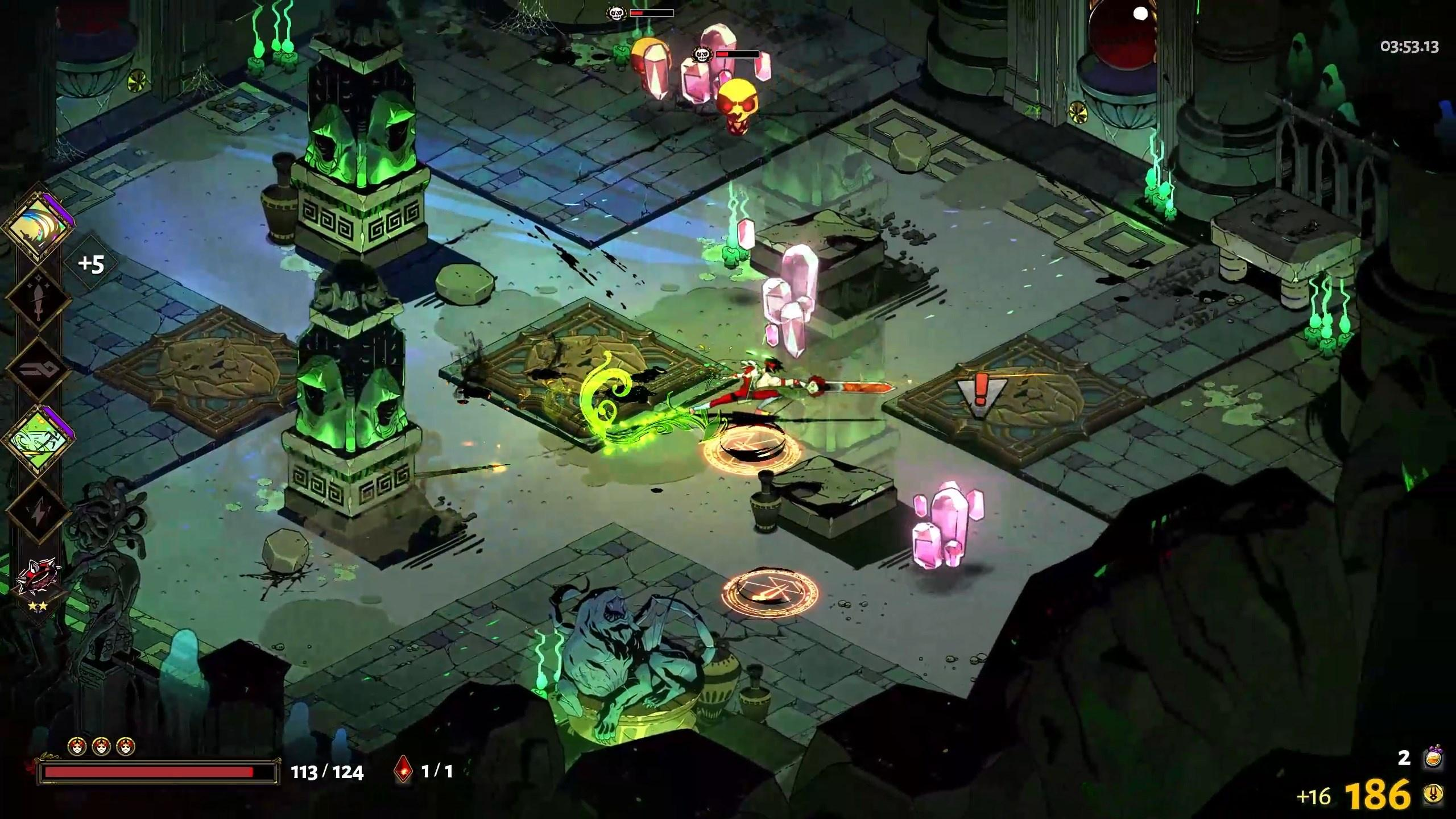 A screenshot of an early level in Hades, from a top down view. Protagonist Zagreus is lunging at an enemy that resembles a cluster of pink crystals.
