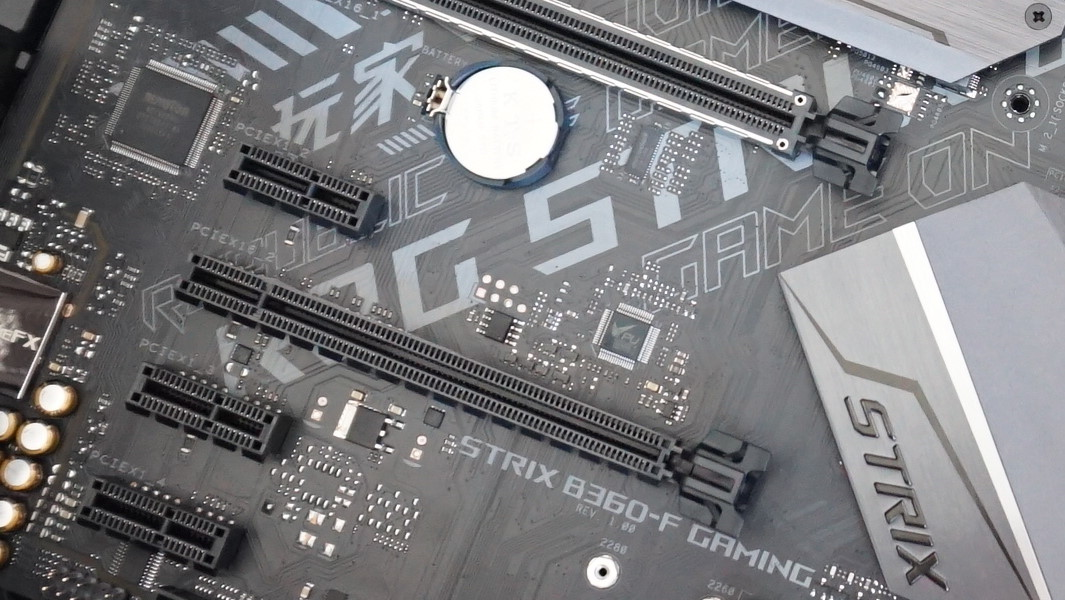 A close-up photo showing the PCIe security clip on your motherboard.