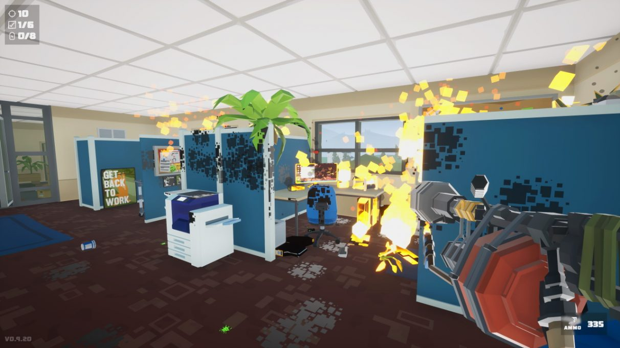 A screenshot of a typical office in Kill It With Fire - there are cubicles, a large standing printer, a pot plant. However, much of this office is on fire. The player is wielding a flamethrower.