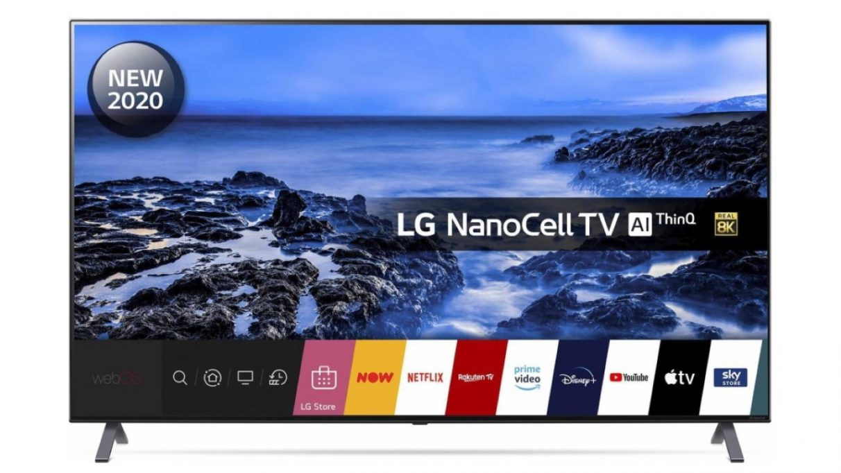 A face on image of LG's 55in Nanocell 8K TV.
