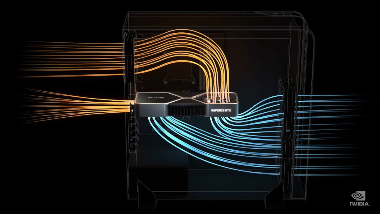 A picture showing the simulated airflow inside your PC case with an RTX 3080.