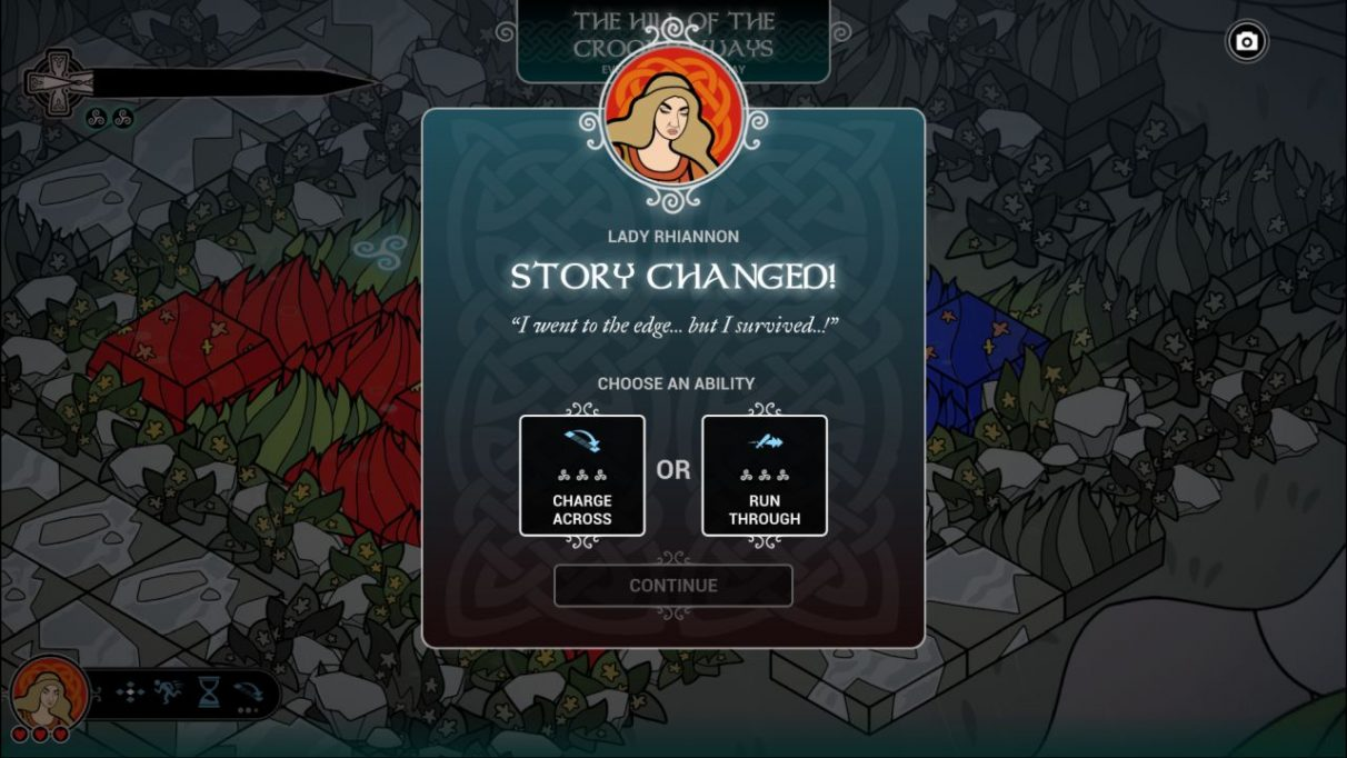 A screenshot showing a popup in Pendragon informing us that Lady Rhiannon's story has changed. It says 'I went to the edge... but I survived!' and she can now choose either the ability to charge an extra square through her territory on the board, or charge through an enemy as she attacks them. width=