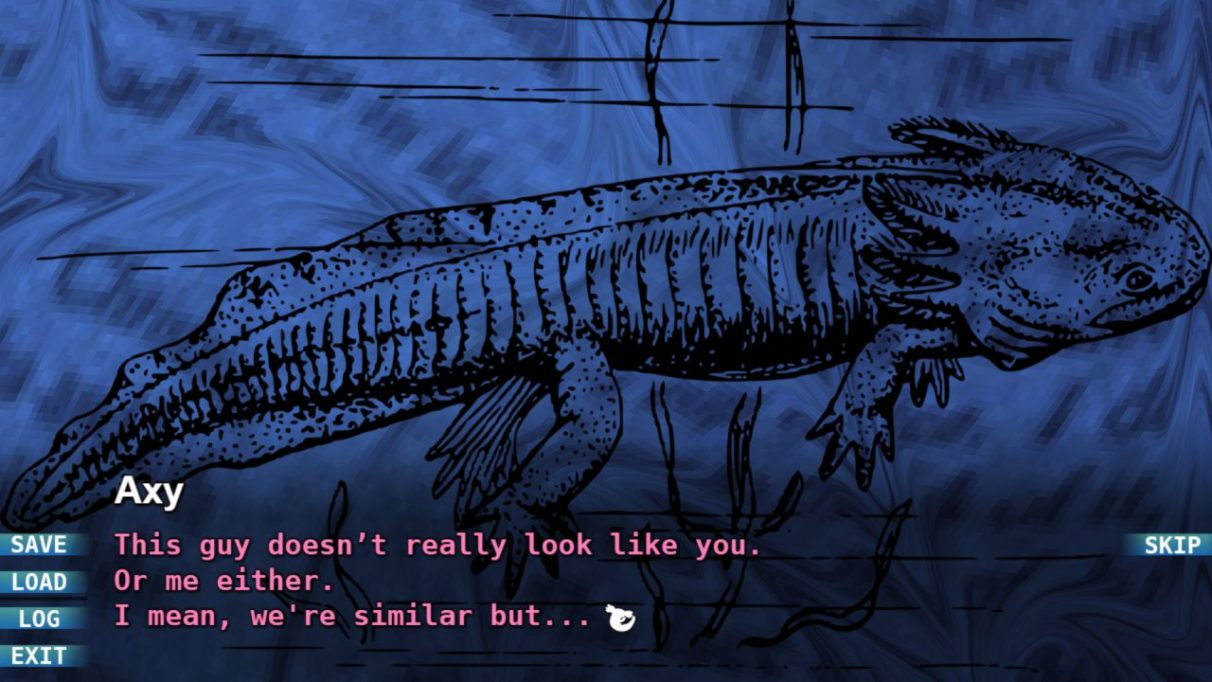 A screenshot from RB: Axolotl showing a book open to a diagram of an axolotl from the 'real world'. Axy is commenting that it doesn't really look like the axolotls in the tank.