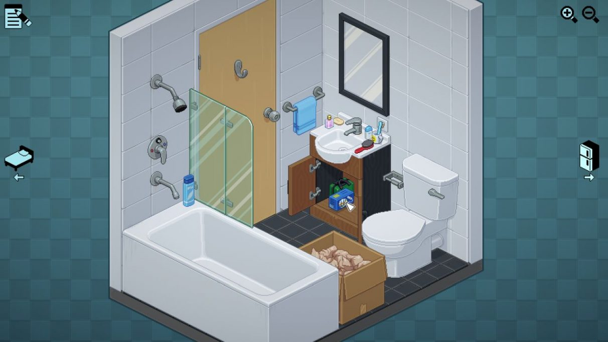 A bathroom, with a box half unpacked. It has a toilet, shower/bath combo and sink. I am putting away a box of tampons under the sink, next to a first aid kit. Too many personal grooming items are arranged around the edge of the sink.