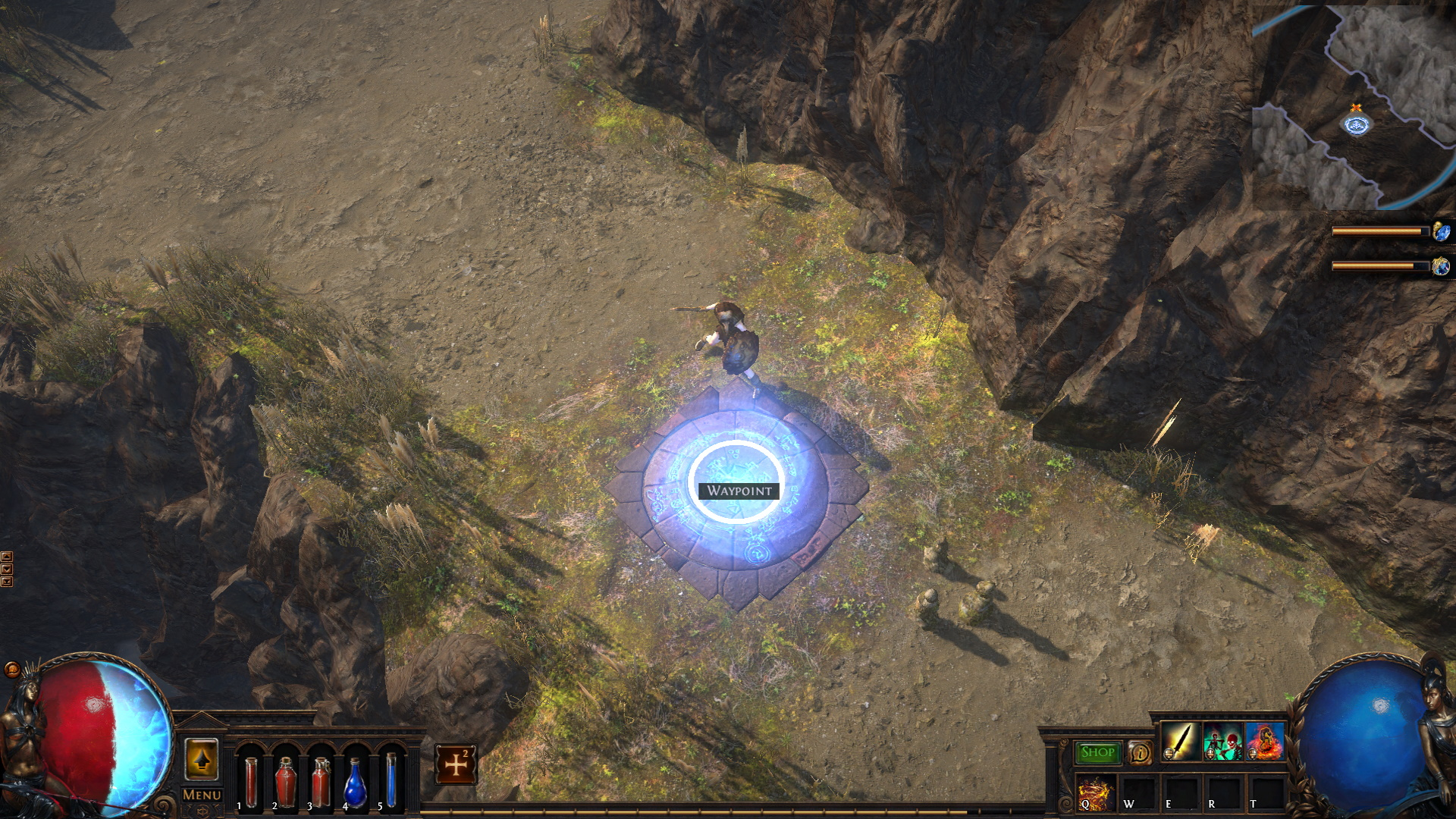 A Path Of Exile character stand on a fast travel Waypoint.