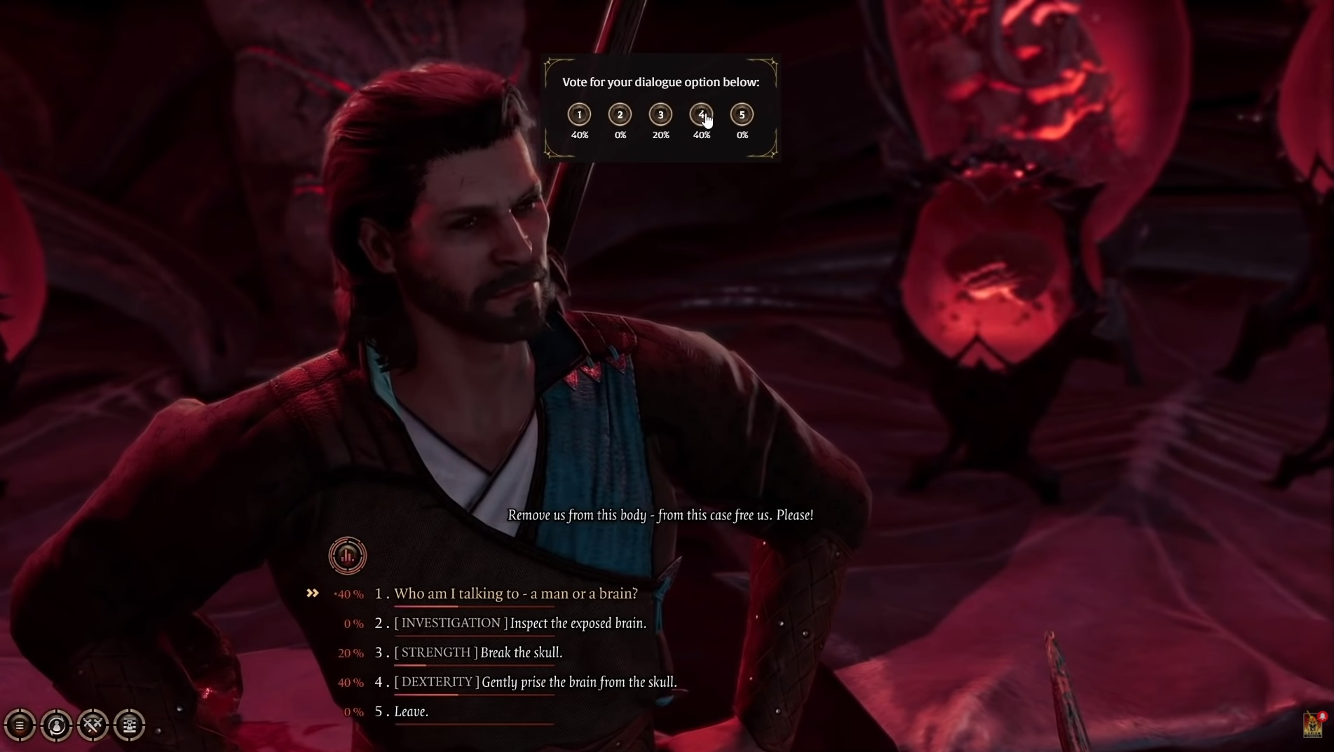 Screenshot showing players voting for dialog selections in the multiplayer version of Baldur's Gate III