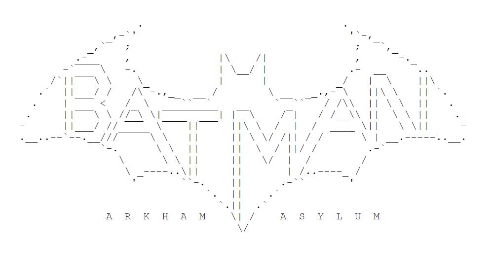 ASCII art of the Batman Arkham Asylum logo, in the shape of the Batman bat logo