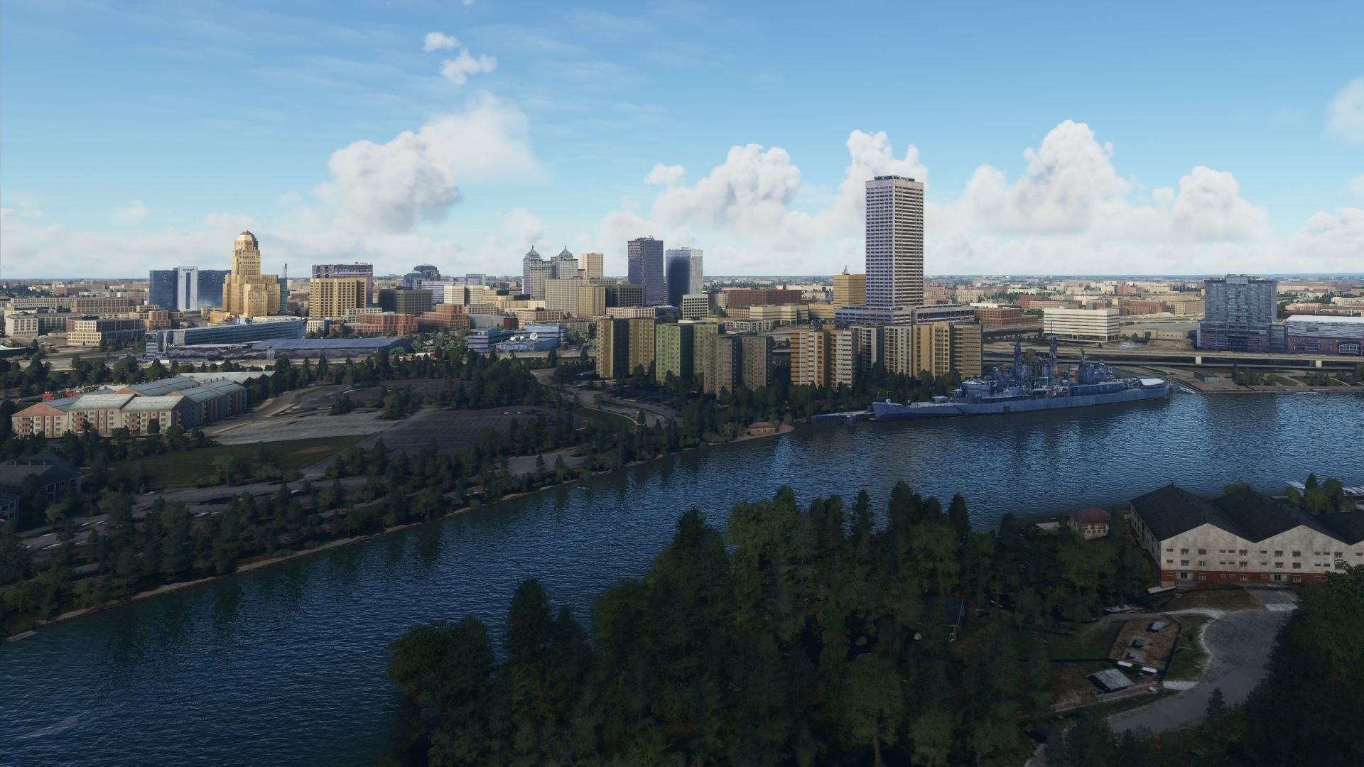A Microsoft Flight Simulator screenshot. It shows the city of Buffalo, New York. The mod has added accurate buildings to the game