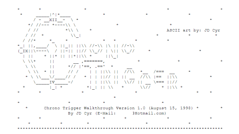 ASCII art of the title of Chrono Trigger, including the fact that the C looks like a big clock