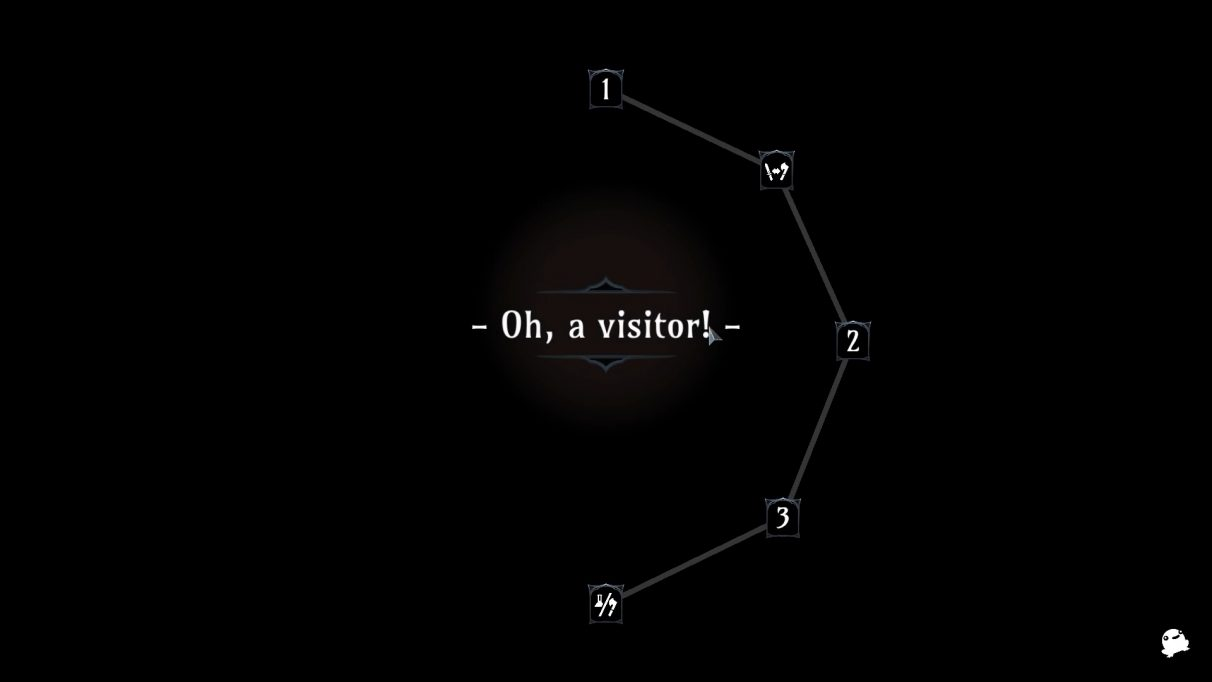 "A ""new level"" screen shows progress around a ring of dungeons, with text saying ""Oh, a visitor!"" in the centre."