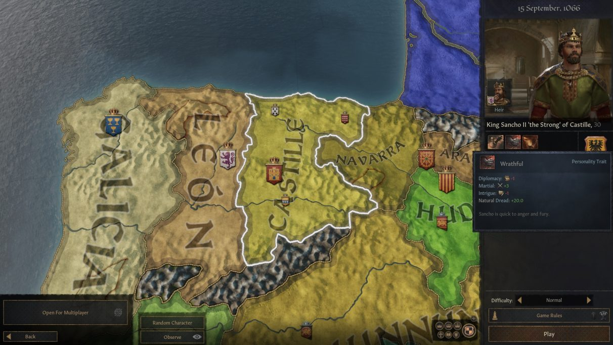 A Crusader Kings 3 map screen, showing northern spain, with a cross king in the upper right, who is me.