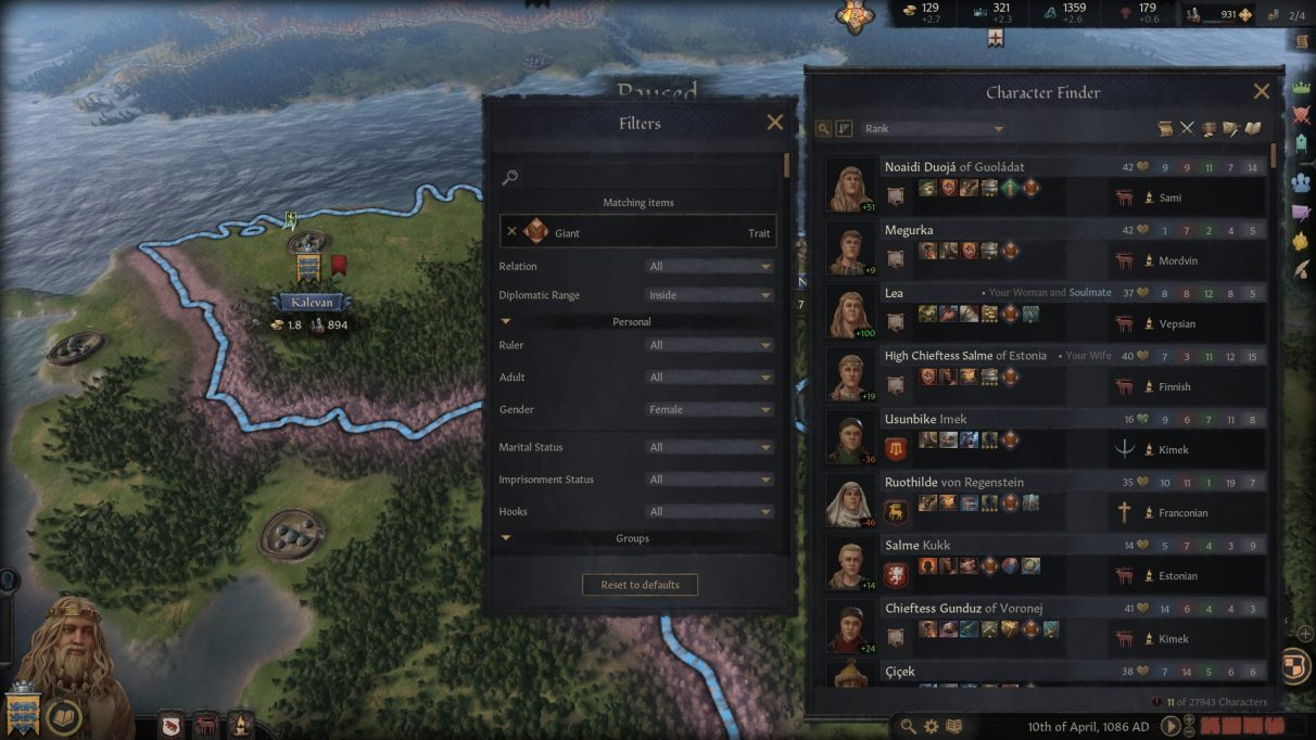 The Crusader Kings 3 character finder window, set to filter only for female giants.
