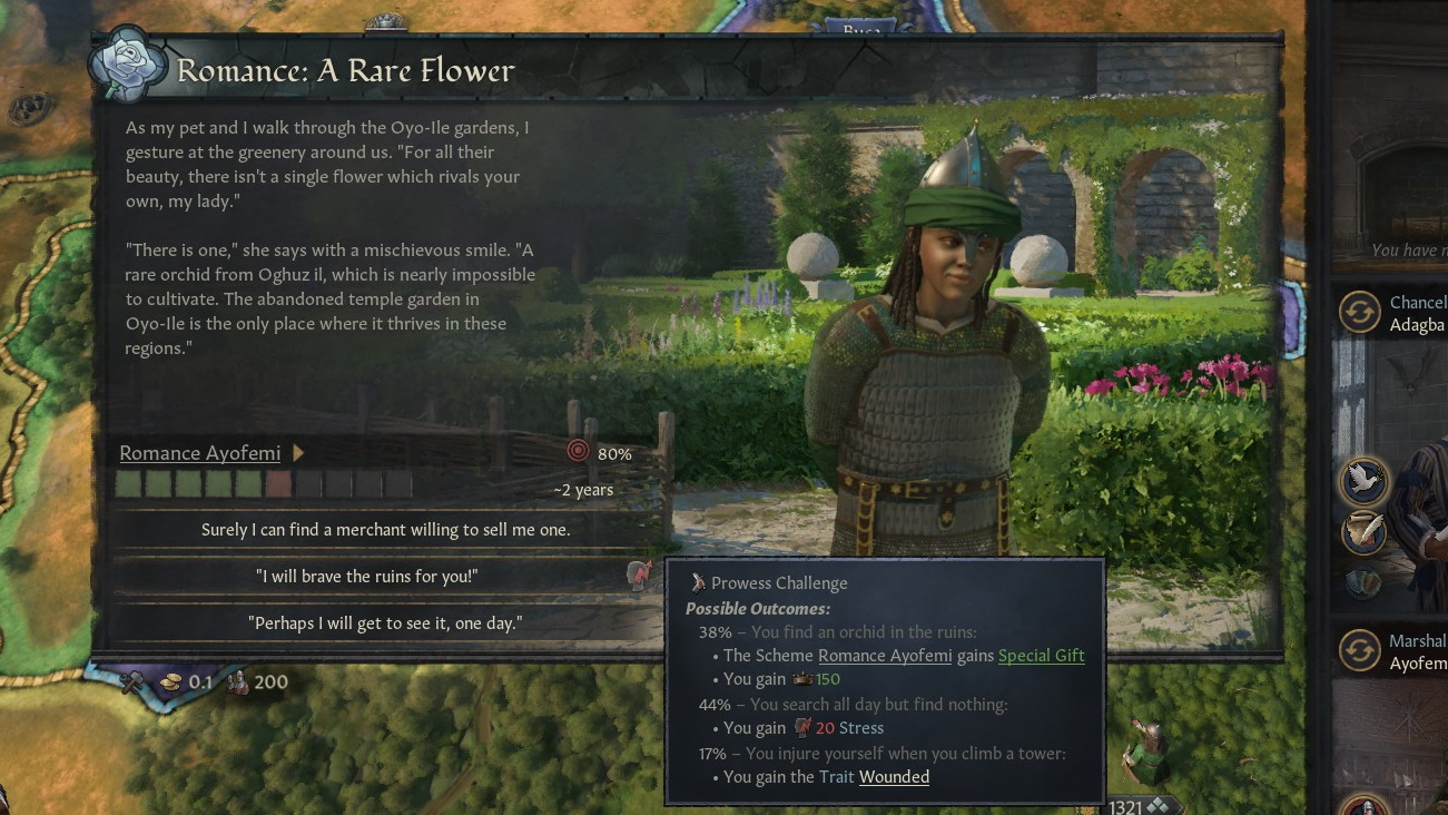 An event pop describing Ayofemi, who is picture on the right as a young, friendly-looking warrior, telling Oyo of a rare flower found only in a particular garden in Oyo-Ile. The player offers to go and find it for her.