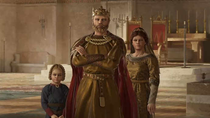 A king and queen and a sprog stare huffily at the camera in a big empty throne room. Grumpy king. I don't like him. Boo.