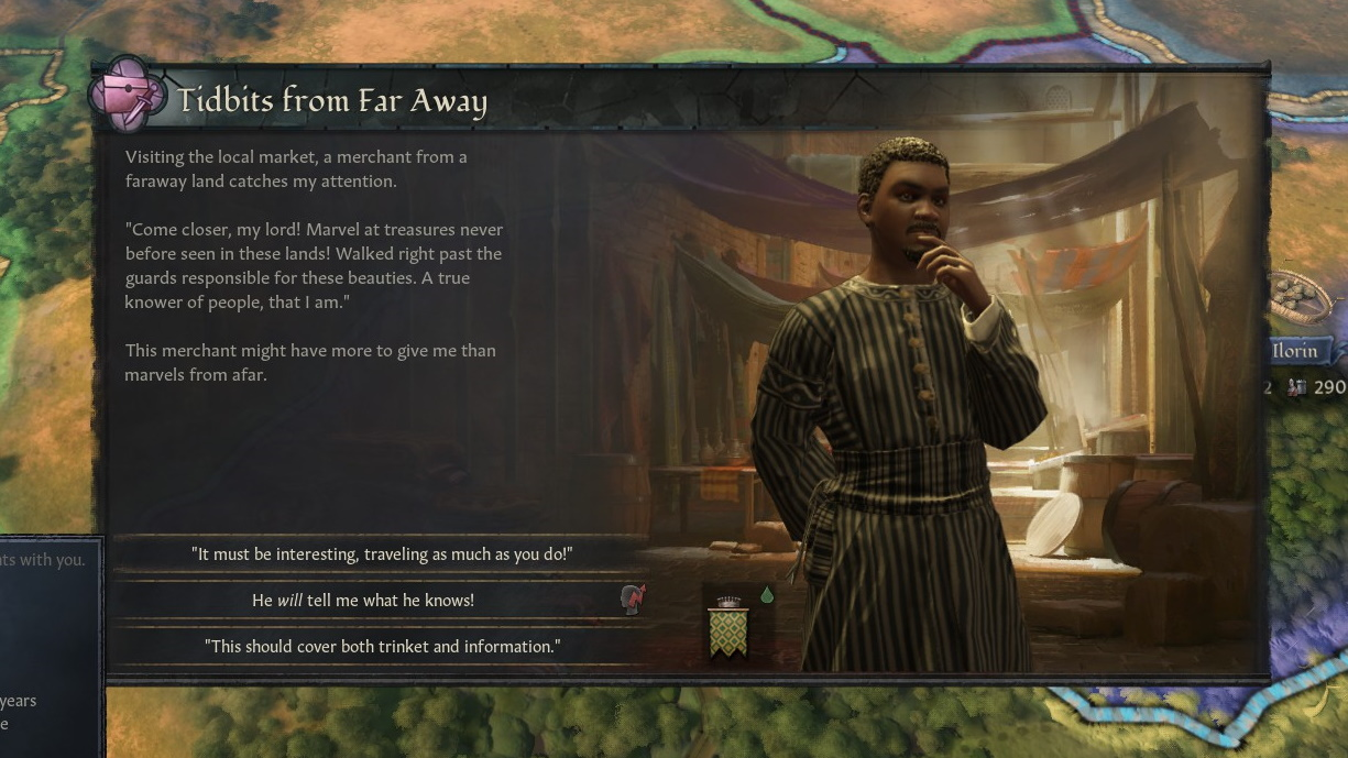 An event box describing a travelling merchant, and options for the player to try to press him for stories, torture him, or pay him. Nana Oyo is pictured to the right: A young man with a goatee and short hair, dressed in a striped robe, stroking his chin thoughtfully.