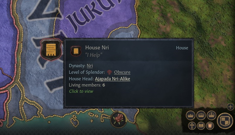 Another info panel, with House Nri's motto and a partial map of Igboland