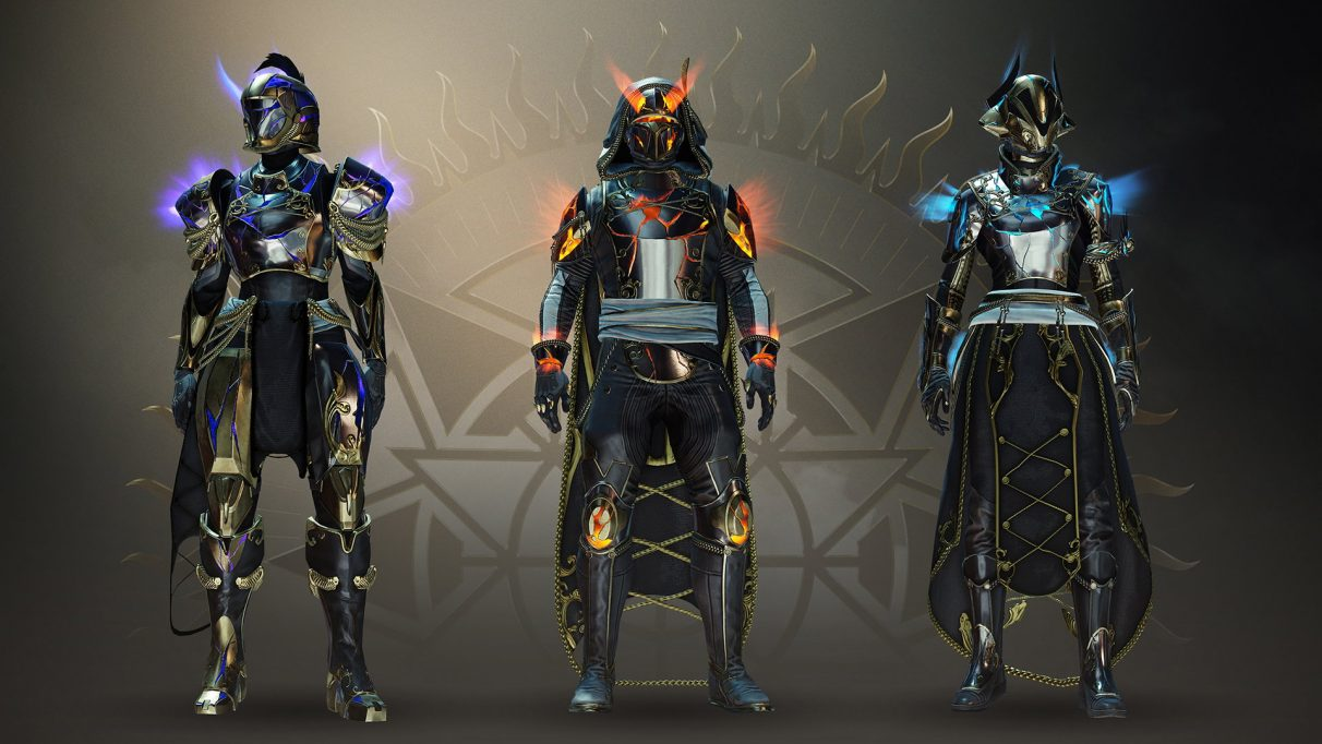 Destiny 2's Solstice of Heroes armour, glowing with elemental energy.