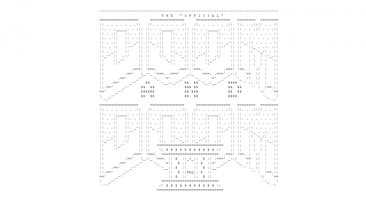 ASCII art of the logos for Doom and Doom II, combined for the FAQ